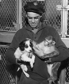 ASPCA agent cares for dog and monkey at the ASPCA Animal Port at Idlewild (John F. Kennedy) Airport, 1960s.