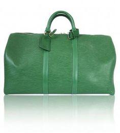 Louis Vuitton Borneo Green Epi Leather Keepall Duffle Bag Mint