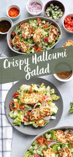 This easy halloumi salad is a great low carb vegetarian meal! I love the cold, crunchy vegetables mixed with the crispy halloumi! You can make this simple salad in just a few minutes! Vegetarian Salad Recipes, Easy Salad Recipes, Salad Dressing Recipes, Chicken Salad Recipes, Easy Salads, Healthy Dinner Recipes, Cooking Recipes, Salad Dressings, Summer Salads