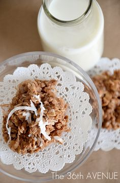 No-Bake Coconut Cookies by the36thavenue.com #recipes #cookies