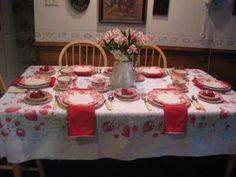 tablescape / table setting using Johnson Brothers transferware named Strawberry Fair ...... Mid-Atlantic Martha: Strawberry Fair