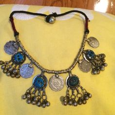 Fun necklace with coins, bells, and stones Fun neclace Urban Outfitters Jewelry Necklaces