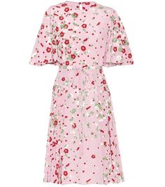 Buy it now. Floral-printed silk dress. Pink floral-printed silk dress by Valentino , vestidoinformal, casual, informales, informal, day, kleidcasual, vestidoinformal, robeinformelle, vestitoinformale, día. Hot pink Valentino  casual dress  for woman.