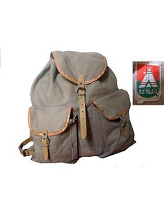 old french  BACKPACK canvas and leather la hutte by lesclodettes, $105.00
