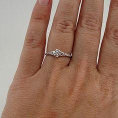 14k White Gold solitaire wedding Diamond Ring size 6.5 (p r100. $425.00, via Etsy.