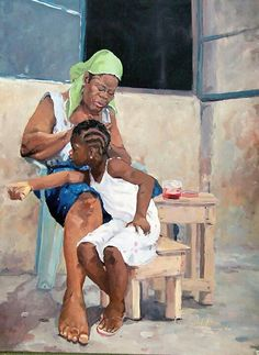 Kehinde Oso is a Nigerian painter, born April 1973 in Lagos, Nigeria. In 2004 he earned his degree in Painting from Yaba College of Technology, Lagos, and his work depicts intimate moments of Lagosian urban life. Black Love Art, Black Girl Art, Art Girl, African American Artwork, Afrique Art, Haitian Art, Natural Hair Art, Caribbean Art, Black Art Pictures