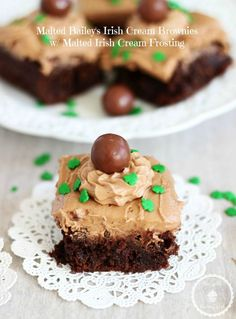MALTED BAILEY'S IRISH CREAM BROWNIES WITH MALTED IRISH CREAM FROSTING!! The best St. Patty's Day dessert!