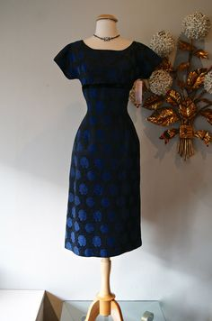 1950s Dress // Vintage 50s Blue Rose Print Wiggle by xtabayvintage, $248.00