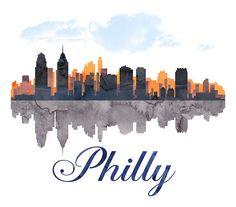Philadelphia Skyline, Pennsylvania, Watercolor