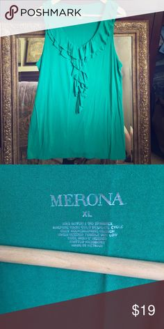 NWOT Sleeveless Emerald Green Top 🌿 Gorgeous never been worn ruffled, sleeveless Merona Top. Silky feeling to the touch. NWOT! Beautiful emerald green color. The pictures don't do it justice! Merona Tops