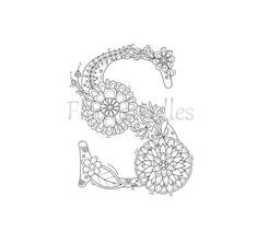 adult coloring page - floral letters, alphabet S, hand lettering, printable, anti stress, coloring book, zen coloring, instant download