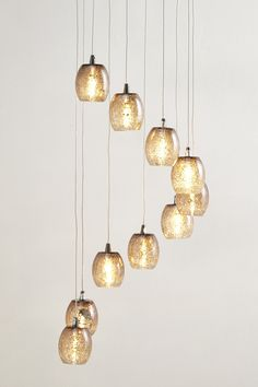 Aisha Cluster Light - ten mink crackled glass shades forming a spiral shape. All cables are adjustable. chain length: x x Pendant Lighting Bedroom, Hall Lighting, Lighting Sale, Dining Room Lighting, Lighting Ideas, Kitchen Lighting, Conservatory Interiors, Conservatory Roof, Cluster Lights