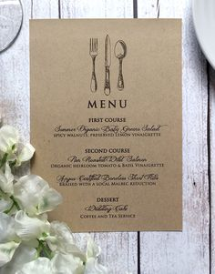 Wedding Menu Card  Vintage Inspired Wedding by SideStreetDesigns