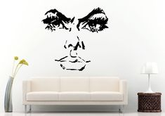 Eye Brows Lashes Eye's Lips Nose Facial Features Woman's Girls Female Face Model Fierce Look Wall Decal Vinyl Sticker Mural Room Decor L1196