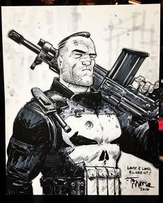 Pretty happy with this Punisher commission from today at @comicconparis.  #punisher #frankcastle #marvel #art #artist #sketch #drawing #comics #comiccon #geek #paris #france #copic #raphaelbrushes #strathmore
