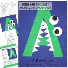 Alphabet Art Template - Upper A (Alligator)