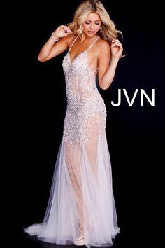 Ivory Sheer Embellished Bodice V Neck Prom Dress