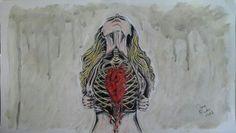 """Mira dritto al cuore, 2014, dalla serie """"I fantasmi della mente"""", acquerello, acrilico, pastello ad olio e china su carta Art by Daisy Triolo"""