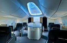 The First Class section in the nose of the Boeing 747-8I for Lufthansa. Click for larger. Photo by Boeing.