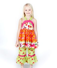 Love this Orange Florabella Crystal Tunic & Pants - Infant, Toddler & Girls on #zulily! #zulilyfinds