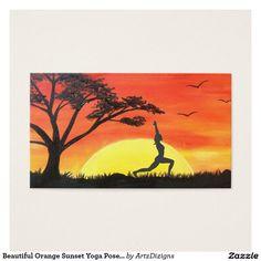 Beautiful Orange Sunset Yoga Pose Business Cards