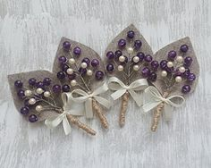 Set of 4 Purple sprig pearl burlap Boutonniere by WeddingForYou