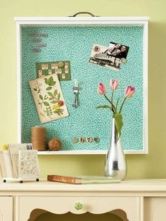 That's a drawer! Gives shelf space on bottom. Flip upside down and you can use drawer pull to hang small items. Line with fabric, cork, paper, chalkboard paint, etc.