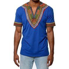 Men's African Print Dashiki T-Shirt Top