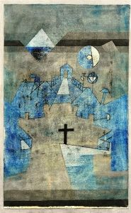 Paul Klee  'Dunes Cemetery'   1924  Watercolor and pen and India ink on painted card  18.35 x 11.22""