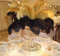 gratis verzending 200pcs/lot 14-15 inches geverfd goud/zwarte struisvogelveer pluim voor bruiloft middelpunt