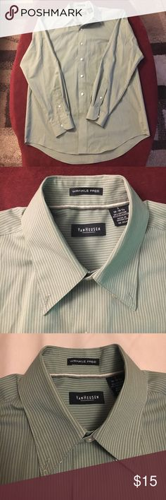 "Men's Van Huesen green and white dress shirt Men's Van Huesen green and white pin stripe button down dress shirt ""wrinkle free"" in size small. Worn once or twice if at all. Third picture is most accurate color. Missing the last button on the bottom but there is an extra sewn inside. Van Heusen Shirts Dress Shirts"
