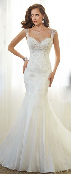 Style Y11569, Jarita, is a beautiful sheath wedding dress with shoulder straps designed by Sophia Tolli, click here for more details.