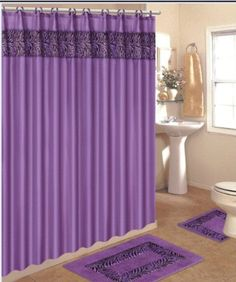 4 Piece Bath Rug Set / 3 Piece Purple Zebra Bathroom Rugs with Fabric Shower Curtain and Matching Mat/rings - - Product Description: Design of this bath set puts a natural spin on a traditional d Zebra Bathroom, Bathroom Rug Sets, Bathroom Shower Curtains, Fabric Shower Curtains, Curtain Fabric, Bathroom Faucets, Bathroom Storage, Purple Zebra, Colors