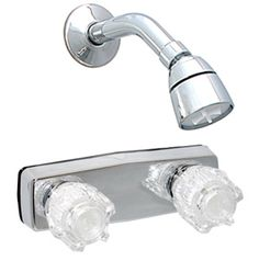Chrome finish with clear acrylic handles - Celcon underbody. Includes ABS shower head, arm and flange - on center x IPS connections. Shower Arm, Shower Faucet, Mobile Home Parts, Access Panel, Chrome Plating, Shower Heads, Chrome Finish, Plumbing, Clear Acrylic