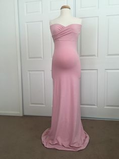 c991c4139c8d1 Dusty Pink Jersey Slim Fit Maternity Gown, Fitted Maternity Dress, Maternity  photo props,