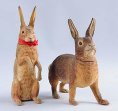 Paper Mache Rabbit Candy Containers.