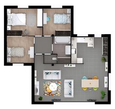 On one level, we identify two zones: a day zone, a night zone. Model House Plan, My House Plans, Home Design Plans, Plan Design, Duplex Plans, Sims 4 House Design, Three Bedroom House Plan, Creative Home, My Dream Home