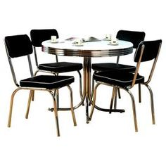 Five Piece Retro Style Dining Set. Includes Four Vinyl Upholstered Side  Chairs