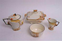 A rare Art Deco Burleigh Ware 'Pan' pattern teaset in tn the orange colourway, comprising six cup Art Deco, Oct 2016, The Saleroom, Floral Theme, Coffee Set, Milk Jug, Breakfast Time, Sugar Bowl, Tea Set