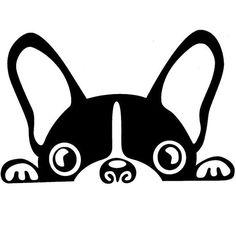 Boston Terrier/ French Bulldog/ Frenchie Dog Peeking Out Vinyl Decal Sticker Silhouette Portrait, Dog Silhouette, Stencil Art, Dog Stencil, Stenciling, String Art, Dog Art, Vinyl Decals, Car Decal