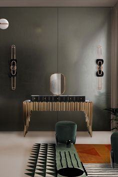 Like all of Maison Valentina's designs, the Symphony Dressing Table is handmade by experienced artisans, each with different specialities, from metalwork to woodcarving. Bathroom Trends, Modern Bathroom, Bathroom Ideas, Vanity Area, Dressing Table, Dressing Room, Round Mirrors, Cool Lighting, Bathroom Furniture