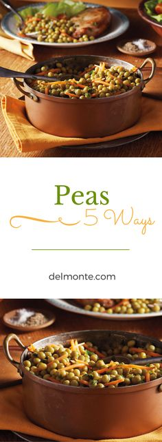 "Peas 5 Ways - Add spring vegetables to your table in 10 minutes! 5 different variations of this easy veggie side to mix up the flavor and have your family saying ""Peas Please!"" for regular weeknights or special holidays. Pairs great with lamb! #10MINUTEWOW #DELMONTECONTEST"