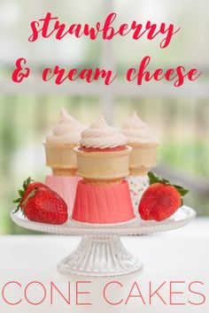 Delicious strawberry cone cakes with strawberry cream cheese frosting. Not too sweet, just the right strawberryness! Strawberry Cream Cheese Frosting, Strawberry Ice Cream, Strawberries And Cream, Homemade Strawberry Cake, Strawberry Cake Recipes, Homemade Desserts, Fun Desserts, Dessert Recipes, Box Cake Mix