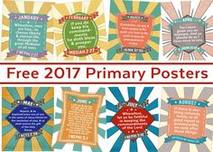 Grab these free 2017 LDS primary poster printables from Lds Primary, Primary Teaching, Primary Lessons, Primary Music, Primary Resources, Visiting Teaching, Activity Day Girls, Activity Days, Monthly Themes