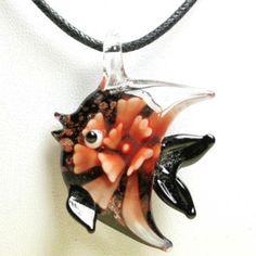 Collier fantaisie avec pendentif en verre de Murano poisson