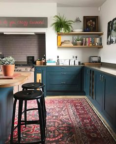 Eclectic kitchen design - Unusual Bohemian Kitchen Decorations Ideas To Try – Eclectic kitchen design Kitchen Cabinet Colors, Kitchen Rug, Home Decor Kitchen, Home Decor Bedroom, Home Kitchens, Kitchen Decorations, Kitchen Ideas, Teal Kitchen Cabinets, Bohemian Kitchen Decor