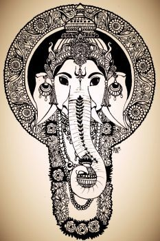 Ganesha by schonheit on DeviantArt Mandala Pattern, Mandala Design, Mandala Art, Mandala Tattoo, Lord Ganesha Paintings, Ganesha Art, Mandala Sleeve, Tanjore Painting, Embroidery Works