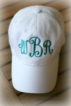 97f6a9039a046 Items similar to Ladies Monogrammed Cap-Monogrammed Ballcap-Ladies  monogrammed Initial Cap-Pool Hat-Bridesmaid Gift-2017 NEW Colors on Etsy