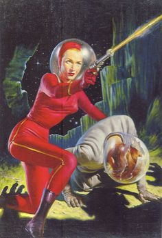 Outer space pinup. Never under estimate a woman with a ray gun.