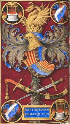 """Armoiries de Frédéric III d'Aragon, dernier roi d'Aragon de Naples (f°392). -- Horae ad usum fratrum praedicatorum, dites """"Heures de Frédéric d'Aragon"""", Tours, 1501-1504, enluminé par Jean Todeschino (italien) et Jean Bourdichon [BNF Ms Latin 10532]. -- En savoir plus ici : http://mediatheque-numerique.inp.fr/Videos-cycle-patrimoine-ecrit/Les-Heures-de-Frederic-III-d-Aragon-Latin-10532-un-chef-d-oeuvre-franco-italien-enlumine-en-Touraine"""